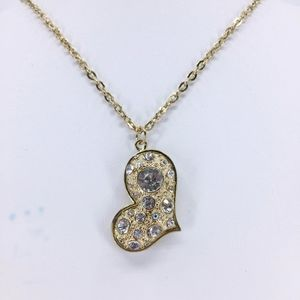 Gold Tone Heart Necklace with Crystals